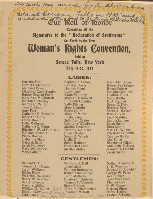 seneca falls convention honor roll archive